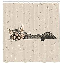 ABAKUHAUS Gato Cortina de Baño, Gato Perezoso Durmiendo en Tonos Tierra Mascota de Interiores Bonita