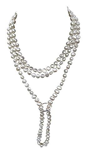 Weiße Shanghai-Stil Süßwasser-Zuchtperle, barock, 135cm lang, Perlenkette mit Sterling Silber