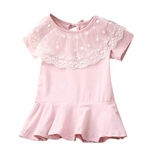 MädchenKleid Babykleidung, YanHoo Kleinkind Kinder Baby Mädchen Kleidung Streifen Spitze Party Prinzessin Kleider Spitze Schal Rundhalsausschnitt Gestreiftes Kurzarm Kleid
