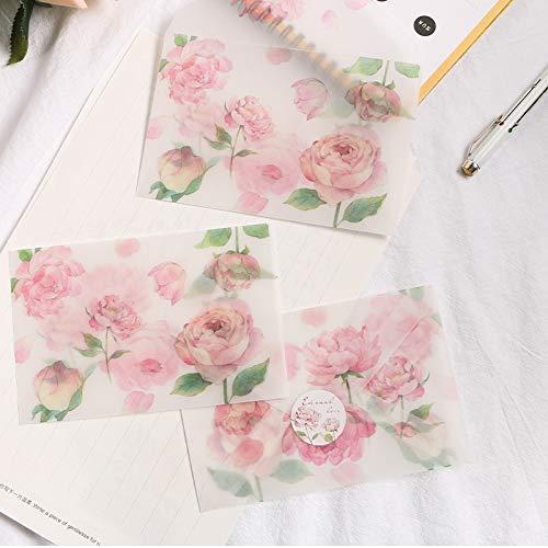 10 * 15 cm Rosa Pfingstrose Muster Umschlag Postkarte Nachricht Karte Einladung Umschlag Transparent mit Siegel Aufkleber ()