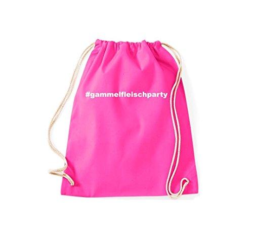 Turnbeutel #GAMMELFLEISCHPARTY Hashtag Gymsack Kultsack Pink