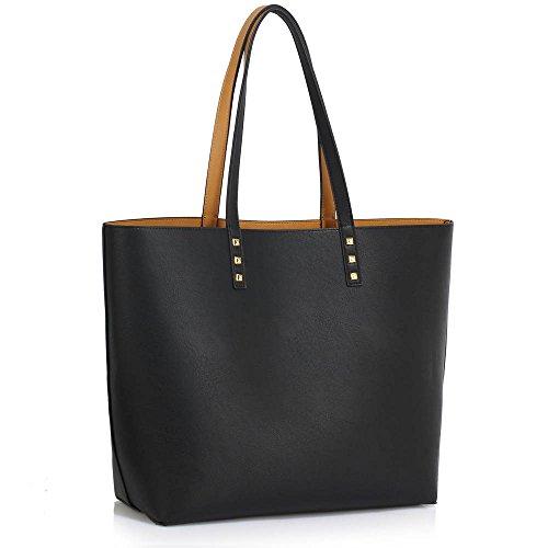 Trend Star Women Handbags Ladies Shoulder Tote Grab designer bags leatherette A - Schwarz/Nude