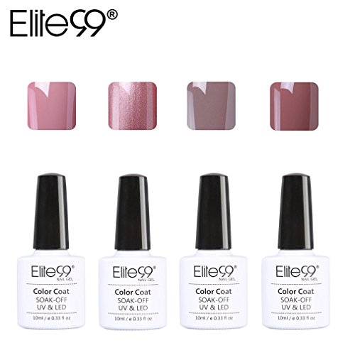 Elite99 Manucure Vernis à Ongles Gel Semi Permanent, Nail Art 4pcs SET UV LED Soak off 10 ML SET06