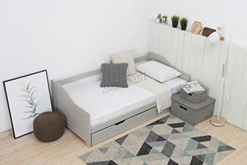 KMS California Westwood singolo giorno 0,9m, grigio con letto estraibile per ospiti in legno massiccio Daybed sottoletto senza materasso nuovo