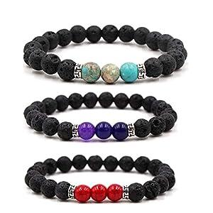 3 PCS Lavagestein Chakras Diffuser Armbänder Naturstein Yoga Perlen Armbänder mit elastischem Seil Stilvolle Wraist Schmuck für Männer, Frauen-Lila + Light Blue + Red Kaiser Jasper
