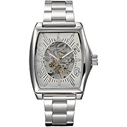 Alienwork IK Automatic Watch Self-winding Skeleton Mechanical Stainless Steel white silver 98184G2-02
