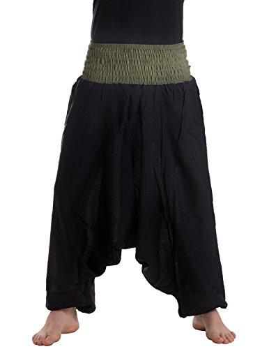 Bundes-olive Bundes-olive (Vishes – Alternative Bekleidung – Baumwoll Haremshose mit farbigem Bund schwarz-olive Einheitsgröße 34-44)