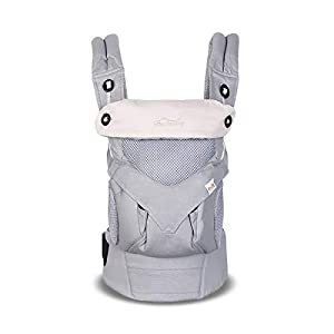 SONARIN 4 in 1 Breathable Baby Carrier,3D Breathable mesh,Sunscreen Hood,Ergonomic,for Newborn to Toddler(3-48 Months),Maximum Load 20kg,Front Facing Baby Carrier,Suitable for Summer(Grey)   5