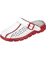 Abeba 7313 - Zueco de trabajo, color rojo y blanco