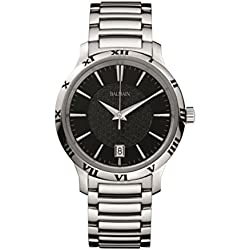 Balmain Men's 43mm Steel Bracelet & Case Quartz Black Dial Analog Watch B4061.33.66