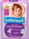 babylove Windeln Premium aktiv plus Größe 4+, maxiplus 9-20kg, 1 x 38 St