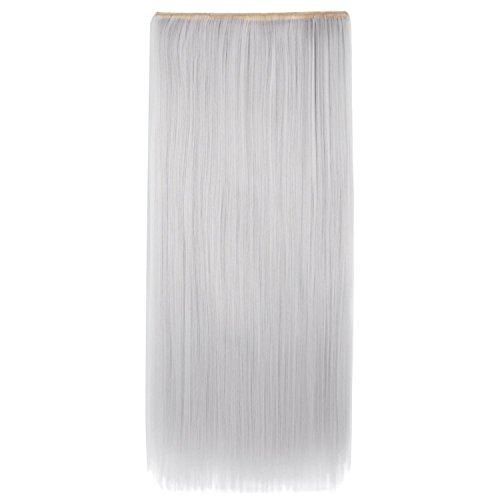 MapofBeauty 60cm/24 Zoll Täglicher Gebrauch Fünf Clips Haarteil für glatte Haare (Silber Grau) Silber Haar-clips
