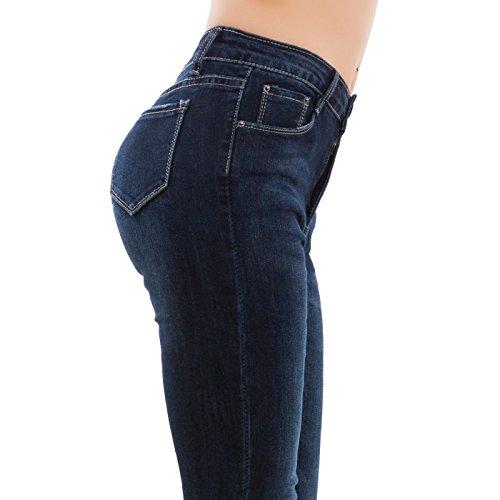 Toocool - Jeans donna pantaloni skinny denim slim fit zip vita alta aderenti nuovi A1713 [XL,blu] Blu
