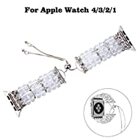 Sisit Pearl Agate Watch Strap,For Apple Watch 4 3 2 1Watch Band Beads Bracelet Jewelry Wristband Strap 42/44MM