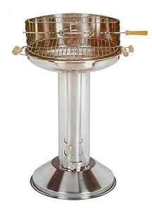 Barbecue Colonne en Inox - Double grille 53cm - Clapet de Tirage - Collecteur de Cendres
