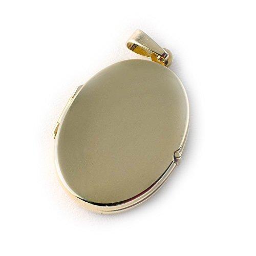ASS 333 Gold Medaillon Anhänger, oval,glanz,poliert zum Öffnen,22mm (Gold Medaillon Anhänger)