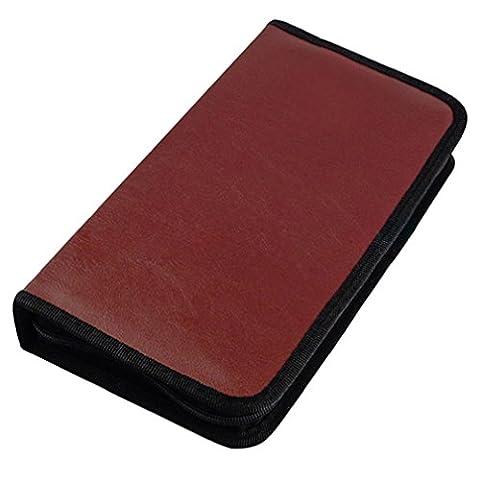 Alcyonée support de 80disques CD VCD DVD Housse de rangement simili cuir Sac à fermeture Éclair
