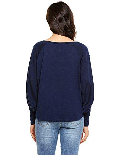 Parabler Damen Langarmshirt Asymmetrisch Design Jumper T-Shirt Loose Fit Bluse Casual Bluse Fledermaus Top Party Shirt Schwarzblau