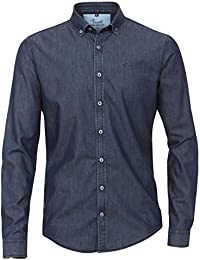 Venti Herren Indigo Hemd Unifarben Slim Fit Washed 100% Baumwolle