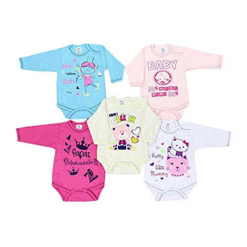 TupTam Baby Langarm-Body mit Aufdruck Spruch Babybody Mädchen Bodys Jungen im 5er Pack, Farbe: Mädchen, Größe: 80