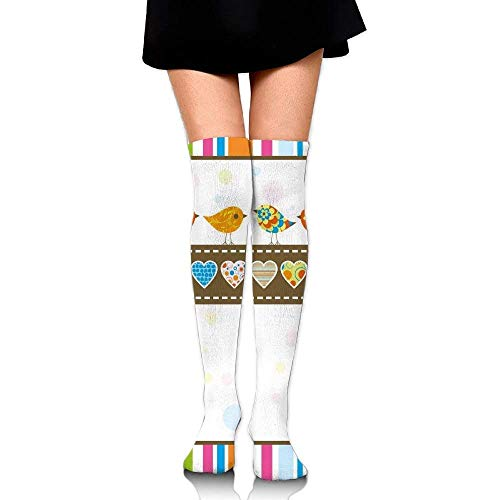 OQUYCZ Woman's Cute Chubby Birds with Colored Hearts and Stripes Abstract Dots Image Breathable High Boot Socks
