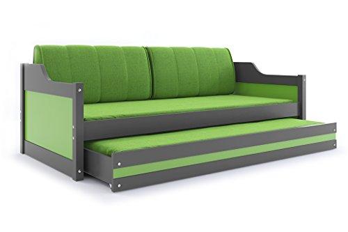 Interbeds Funktionsbett Schubladenbett David 200x90cm Farbe: grau mit Lattenroste, Matratzen und Kissen (grau + grün)