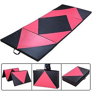 Yaheetech 10FT Foldable Anti Slip Exercise Yoga Gymnastics Mat PU Soft Tumble Play Crash Safety Home Fitness Pilates Workout Pink/Black