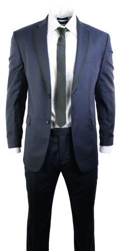 Hommes bleu marine équipée de blazer de costume et pantalon des bureau mariage 2 bouton garniture noire Bleu Marine