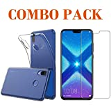 AONIR Tempered Glass & Back Cover_Combo Pack-Transparent_ Premium Quality Screen Guard And Soft Case Cover For Huawei Honor 8X