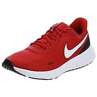 Nike Revolution 5 Nylon-Mesh Contrast Side Logo Textile Heel-Tab Running Shoes for Men - Midnight Navy, 43