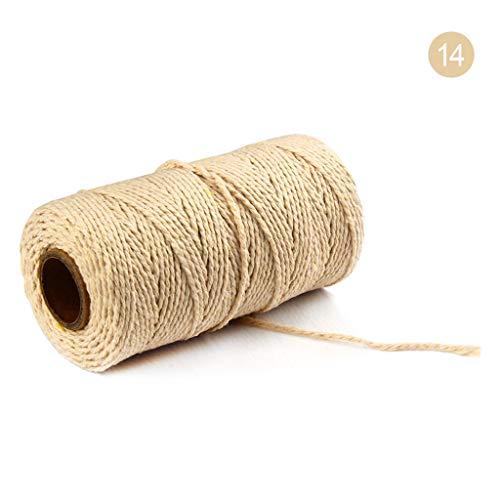 2mm 100 m lang / 100 Yard Reine Baumwolle verdreht Schnur Seil Handwerk Makramee Artisan String Natur Baumwollseil Baumwollkordel Rolle (M)