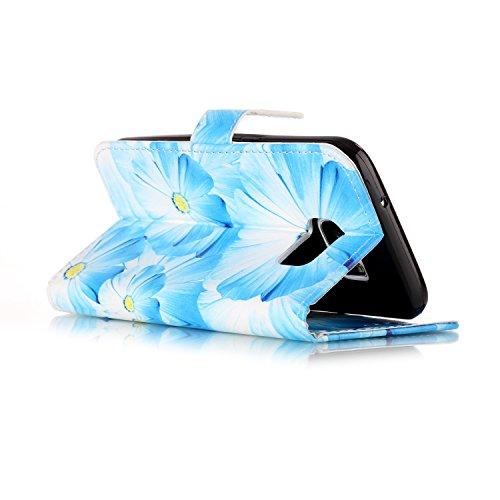Für Samsung Galaxy S7 Fall Abdeckung Luxus Blume / Marmor Textur Horizontale Flip Case Premium PU Leder Brieftasche Fall mit Magnetverschluss & Halter & Card Cash Slots ( Color : D ) E