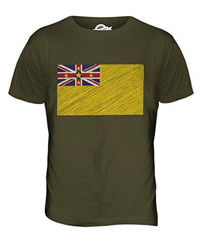CandyMix Niue Kritzelte Flagge Herren T Shirt Khaki Grün