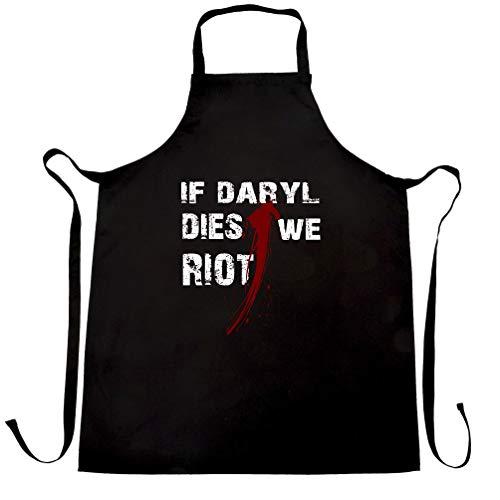 TV-Parodie Schürze des Chefs Wenn Daryl Dies Wir randalieren Slogan Black One Size (Geschenke Mädchen Geeky Für)