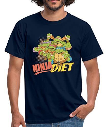 Spreadshirt TMNT Turtles Ninja Diet Pizza Männer T-Shirt, XXL, Navy