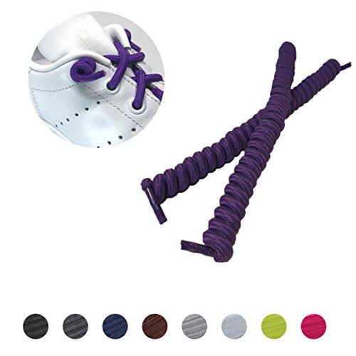leazy Lockys Kids Spiralschnürsenkel - selbstbindende spiralförmige elastische Schnürsenkel für Kinder - (Einheitsgröße, Lila)