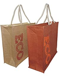 ECO-Friendly Large Size Jute Shopping Bag With Zip Closure - Set Of 2 Bags