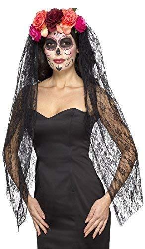 Fancy Me Damen Deluxe Tag der Toten Zuckerschädel Blumenmuster Rose Schwarze Spitze Schleier Haarband Halloween Mexikanisch Fest Kostüm Verkleidung Zubehör