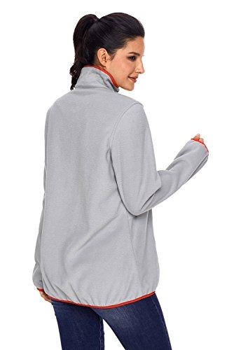 BaronHong Fashion Pull col haut bouton manches longues femmes, plus la taille Sweat Orange