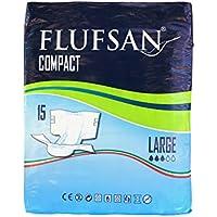FLUFSAN COMPACT Pañales para adultos todo en uno pañales grandes LATEX FREE 70+ KG, 115-150 cm/45-59 pulgadas, 15 pañales por paquete