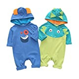 Omiky Neugeborene Kinder Baby-Jungs Outfits setzt Jumpsuit Cartoon Tiere Romper Kleidung (Grün, 12 Monate)