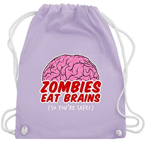 Halloween - Zombies eat Brains - so you´re safe! - Unisize - Pastell Lila - WM110 - Turnbeutel & Gym Bag (2019 Ideen Halloween Kostüm Kinder)