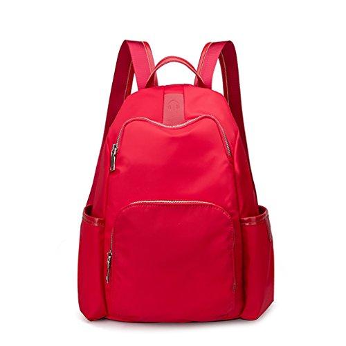 CLOTHES- Versione coreana del sacchetto di spalla casuale della tela di canapa di nylon del tessuto di Oxford di modo Oxford piccolo zaino del pacchetto della mummia ( Colore : Nero ) Rosso
