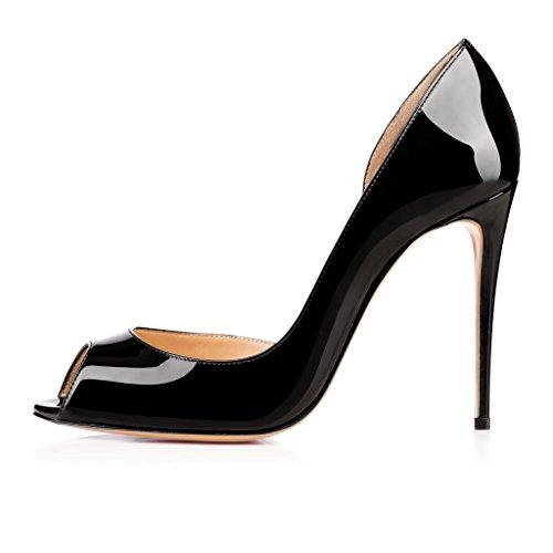 EDEFS Femmes Artisan Fashion Sandales Classiques Particuliers Bout Ouverts Party Chaussures à talon haut aiguille de 100mm Noir Noir