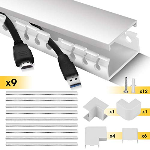 Stageek 9x15.4'' Cable Management System Kit Open Slot Wiring Raceway Duct with Cover, on-Wall Cable Concealer Cord Organizer to Hide Wires Cords for TVs, Computers (White)