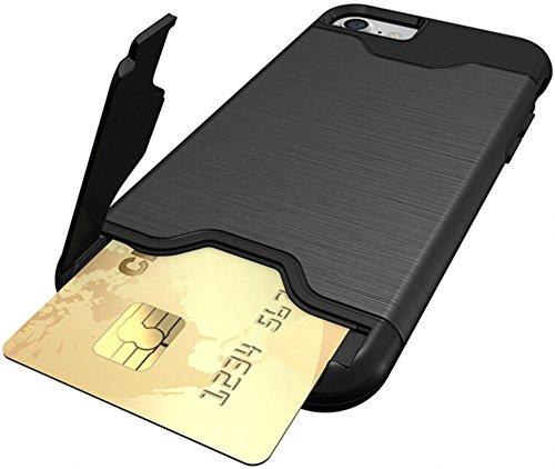 Nnopbeclik Schutzhülle Für Apple Iphone 7, TPU+PC 2in1 Dural Protective Layer Handy Hülle Cover Case Etui mit Drehbar Ständer und Kartenschlitz Muster Handytasche Metallisch Farbe Luxus Anti-Rutsch An Schwarz