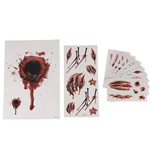 Kostüm Echo Cosplay - SUPVOX 11 Blatt Halloween temporäre Tätowierungen blutende Wunde Narbe Zombie Vampir Tattoo Aufkleber für Party Cosplay Kostüm Look echte Flash wasserdicht temporäre Tätowierung