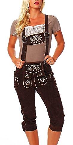 Trachten Lederhose für Damen Kniebund Hose braun mit Hosenträgern Gr 32-48 KNDCL
