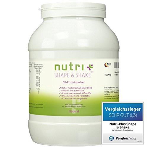 Proteinpulver Neutral 1kg (TESTSIEGER Eiweißpulver-Test 2017) - Nutri-Plus Shape & Shake - ohne Aromen und Süßstoffe - Mit Whey-Isolat & Casein