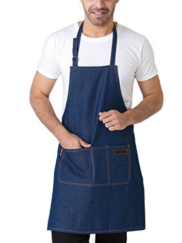 Feoya Denim Delantal con Bolsillos Mandil de Trabajo para Hombre Mujer Chef Cocinero Carameros Color Azul